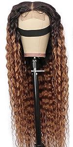 Ombre water wave closure wig