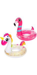Inflatable Unicorn amp;amp;amp; Flamingo Pool Float with Glitters