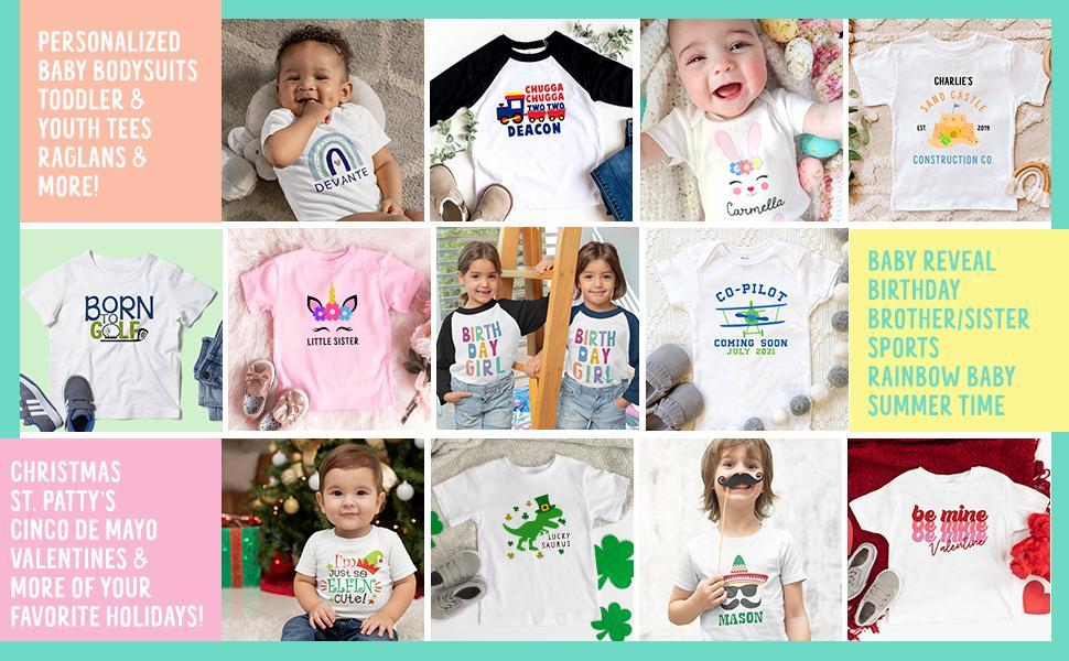 Little Spunkies Clothing Kids Baby Onesie Bodysuit Tshirt Raglan Holiday Birthday