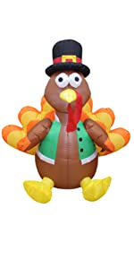 4 Foot Tall Happy Thanksgiving Inflatable Turkey with Pilgrim Hat