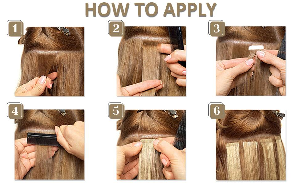 real human hair extensions tape in hair application