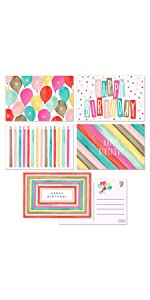 5 design birthday post card watercolor cute and colorful designs balloons candles confetti stripes