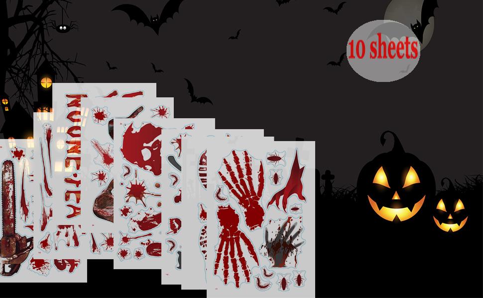 118pcs Bloody Handprint Halloween Window Clings Stickers Decorations