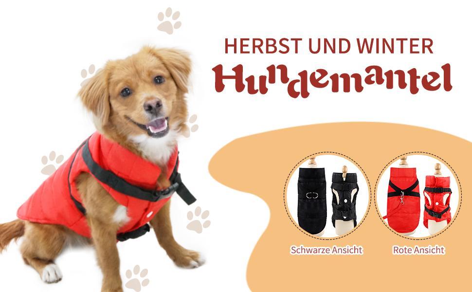Aexit Hundem/äntel wasserdichter Hundemantel Bedruckte wasserdichte Jacke f/ür Hund Kleiner Hund Reflektierender Regenmantel Ultra Light Breathable Red