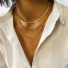 Herringbone Choker Necklace Set Gold Layered Snake Chain Layering Herringbone Chain Necklace