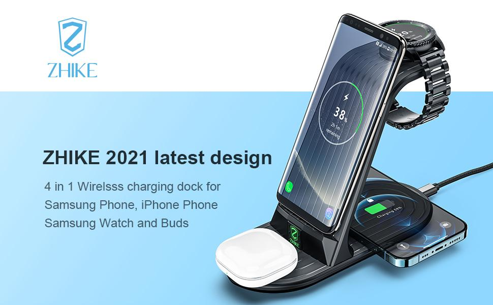 ZHIKE 2021 Latest design 4 in 1 Samsung Wireless Charger