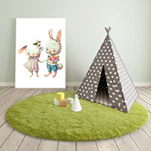 round shaggy area rug for kids