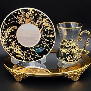 vintage turkish tea cups glasses set