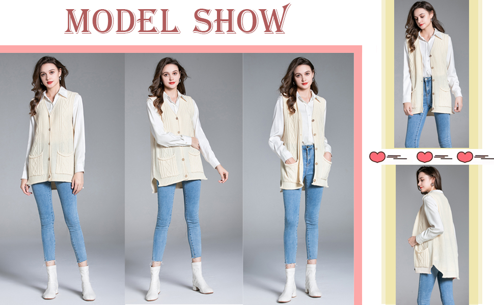 Women's Sweater Vest Button Down Cable Knit Cardigan Outwear