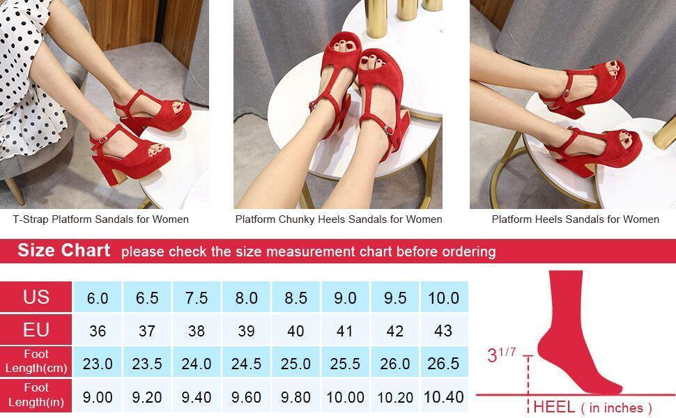 T-Strap Platforms Wedges Sandals Suede Peep Toe Block Chunky High Heels Pumps
