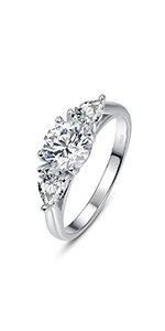 Pear and Round Cut AAA Cubic Zirconia Promise Ring