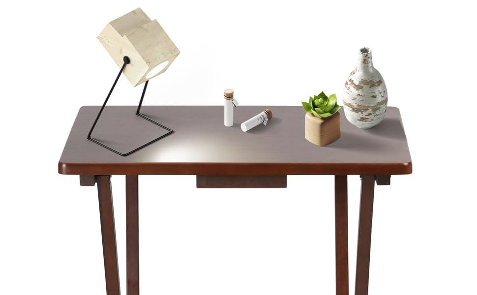 PJ Wood Folding TV Tray Snack Table - Honey Oak