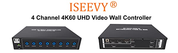 ISEEVY 4 Channel UHD Video Wall Controller 2x2 4K60 TV Wall Processor