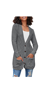 luvamia Womenamp;#39;s Casual Cable Knit Open Front Button Pockets Long Sleeve Cardigan Sweaters Coats