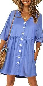v neck button shift dress