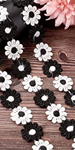 Daisy Flower Lace Trim Embroidered Sunflower Floral Fabric Trim Ribbon