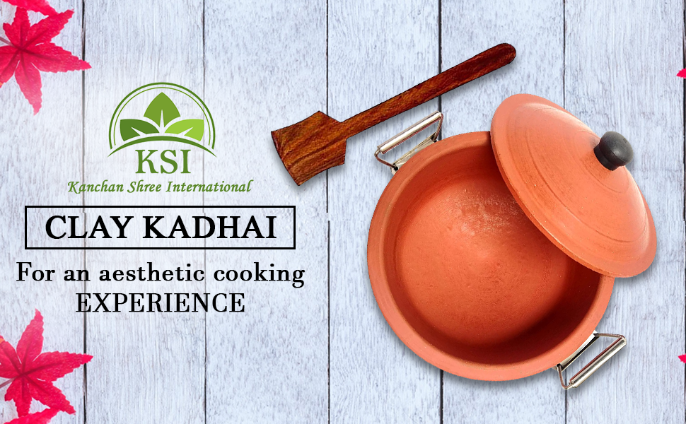 KSI Organic Clay earthen Clay kadai for Cooking with lid Curry ( 1 Spatula Palta )Free SPN-FOR1