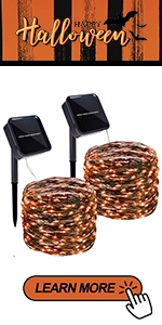 Solar Orange String Lights, 2 Pack