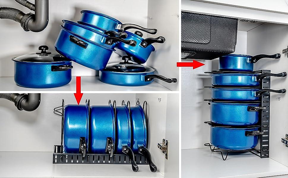 5 Tiers Pot Pan Storage Rack Organizers Iron Pot Pan Rack Pan Lid Holder Kitchen Counter Cabinet