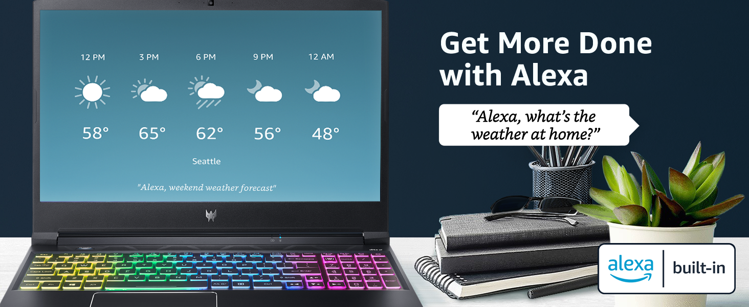 works with amazon alexa voice command skills built in calendar weather schedule plan home