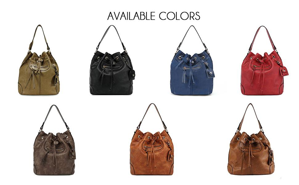 Available colors are green, black, red, coffee brown, light and dark brown