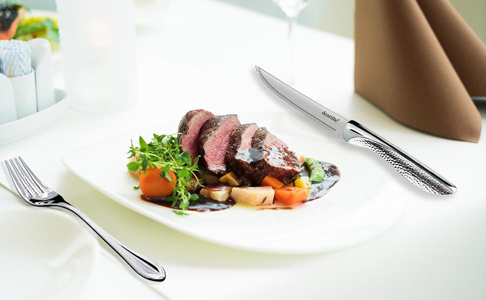 steak knives hammered handle