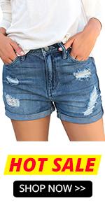 Ripped High Waist Jeans Shorts TRGHFOIH