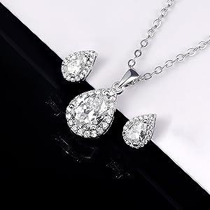teardrop necklace earrings set