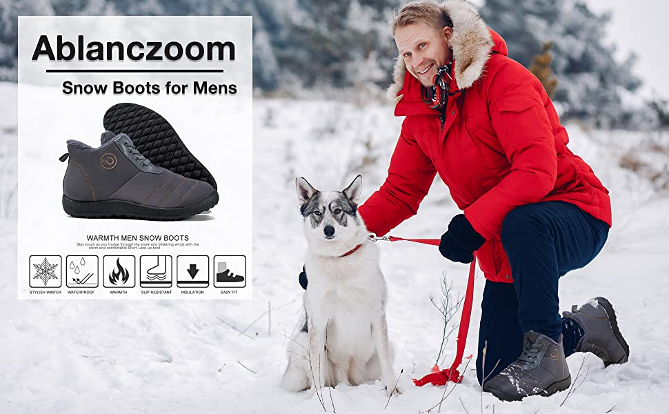 mens shoes snow boots for mens winter boots men fur boots waterproof comfortable slip on boot ankle