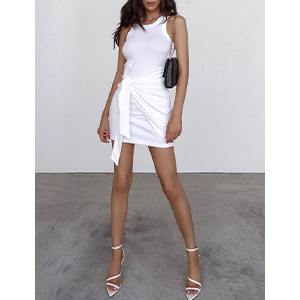 ruched bodycon dress t shirt dress btfbm women casual crew neck ruched sleeveless tank bodycon