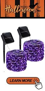 Solar Purple String Lights, 2 Pack