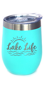 Text says Lake Life in cute swirly script, with design of waves and a sunrise