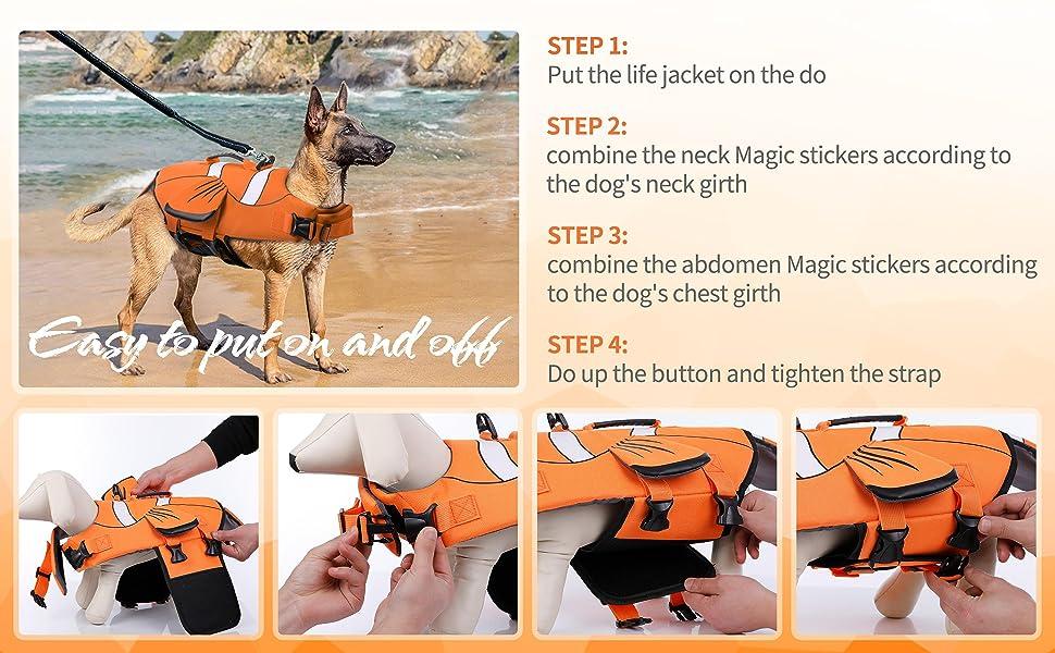 DENTRUN Dog Life Jacket Safety Vests for Swimming, Adjustable Puppy Pool Lake Floats Coat