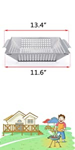 Vegetable Basket for Weber Q300 and Q3000 Series Grills, 18 inch and More Lager Grills