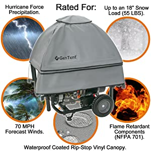 """Independent Lab Tested Generator Cover - Protects against 70 MPH wind, 18"""" snow load, 12"""" Rain an hr"""