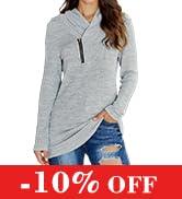 KIRUNDO 2021 Women Sweatshirts Long Sleeve Pullover Zipper Cowl Neck Tie Dye Tunic Sweatshirt J...