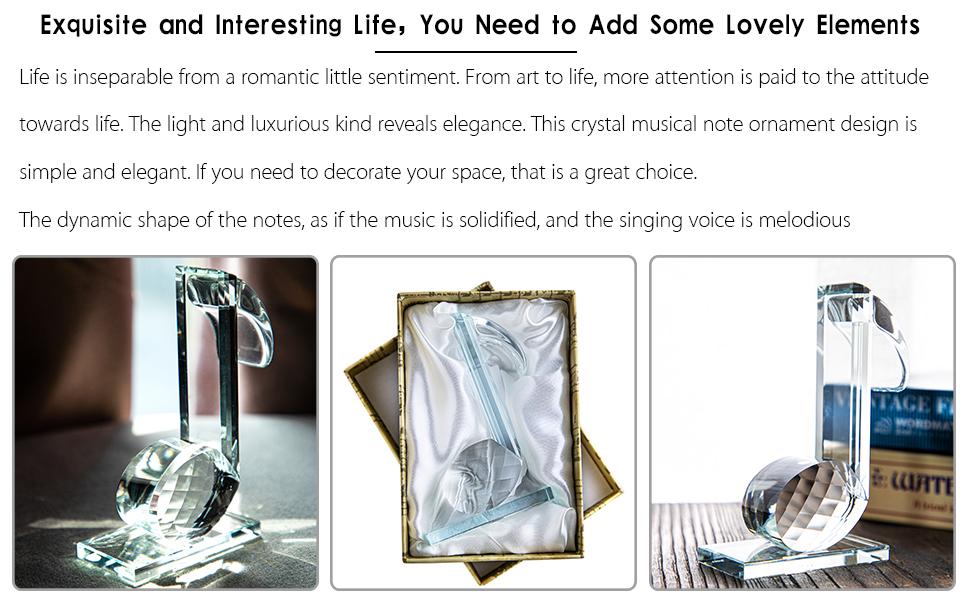 crystal figurine music note