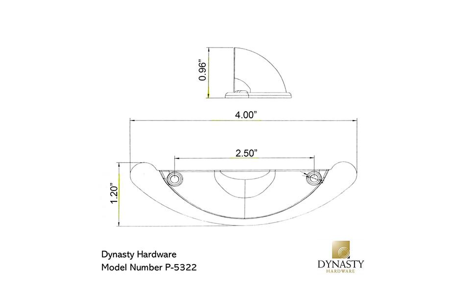 Dynasty Hardware P-5322-AC Antique Copper Bin Pull Dimensions