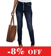 KIRUNDO Women Skinny Jeans with Buttons Solid Color Casual Stretchy High Waisted Jeans with Poc