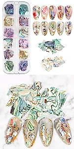 1 Box Colorful Nail Art Shell Slices Nail Decorations