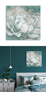 teal and grey wall decor