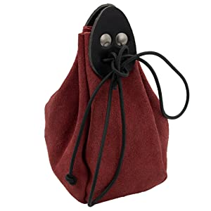 Mythrojan jewellery bag suede leather drawstring belt pouch suede LARP SCA MEDIEVAL coin gold purse
