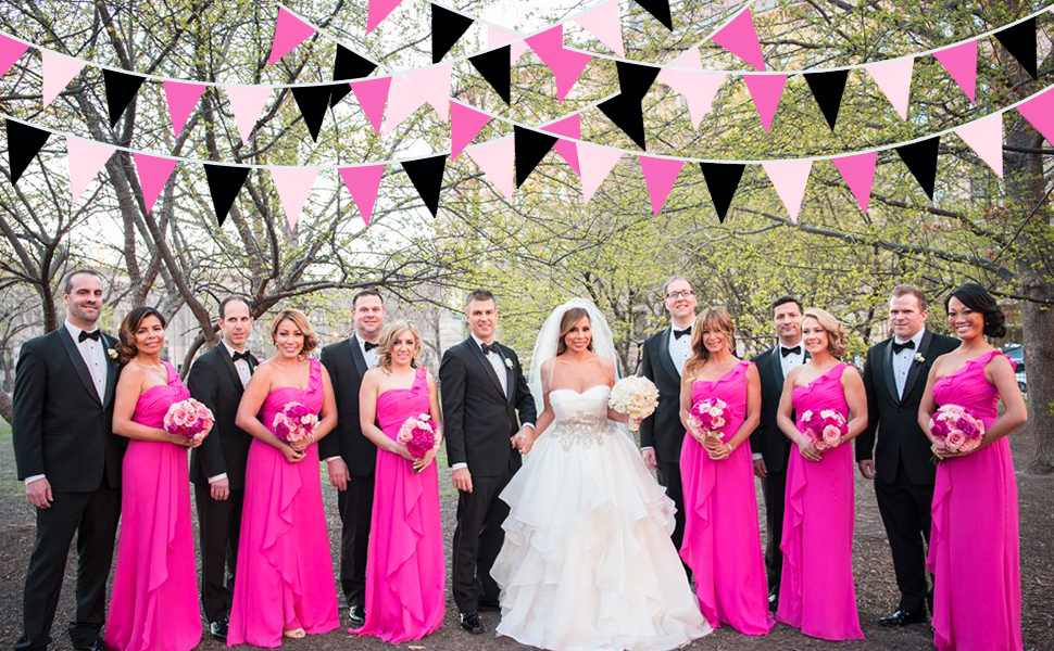 Rose Hot Pink Black Pennant Banner Fabric Triangle Flag Cotton Bunting Garland