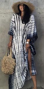 CHERRY CAT Women Tie dye Beachwear Long Beach Cover up Kaftan Resort Wear Tie dye Print Plus Size