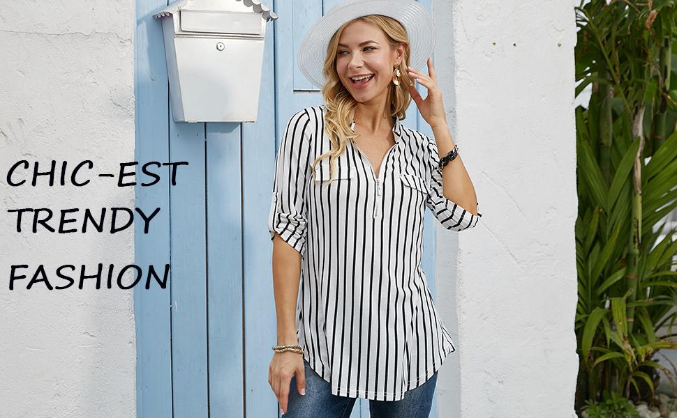 blouses for women 3/4 sleeve fashion trendy botton down tops tunics