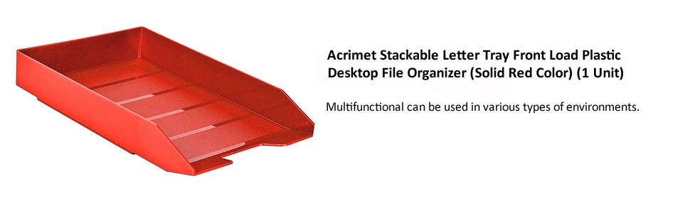 Acrimet Stackable Letter Tray Front Load Plastic Desktop File Organizer (Solid Red Color)