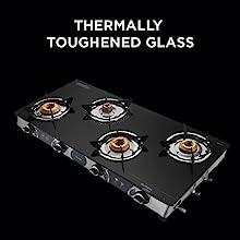 Preethi Blu Flame Glass Top 4 Burner Gas Stove, Manual Ignition, Black2