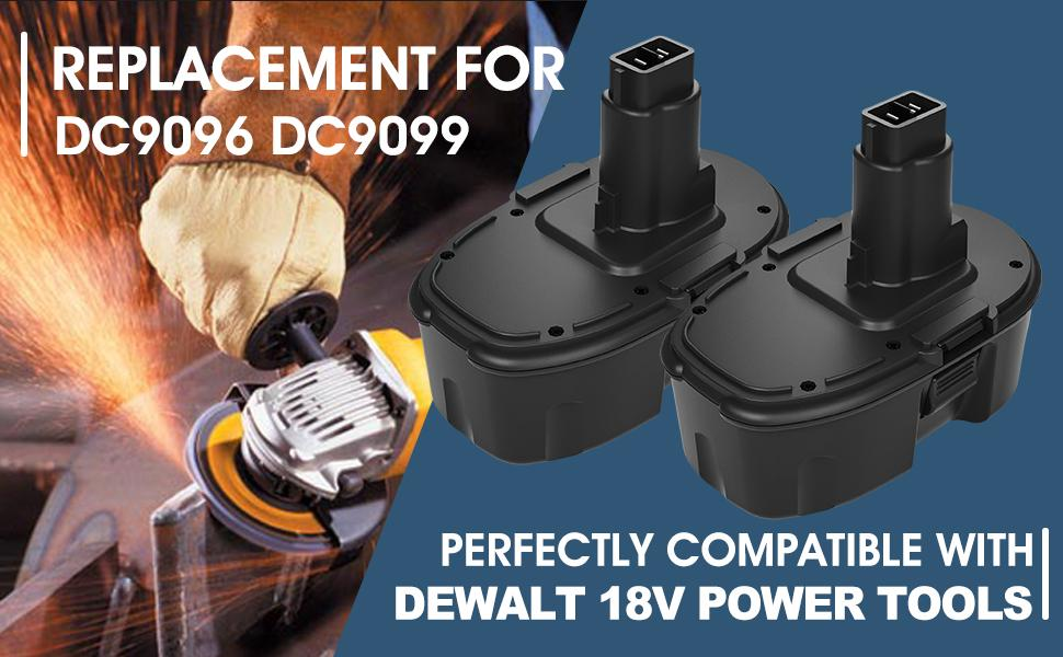 Battery Specifications -- DC9096 DC9099 DC90098 Replacement for Dewalt 18V Battery - 2Packs