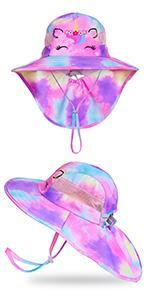 kids sun hat girls unicorn beach hats with wide brim and neck flap