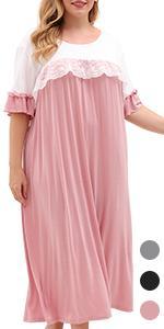 Lace Detail Ruffle Oversized Long Nightdress Casual Soft SleepwearPlus Size